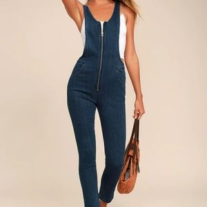 Free People Jax Blue Denim Jumpsuit
